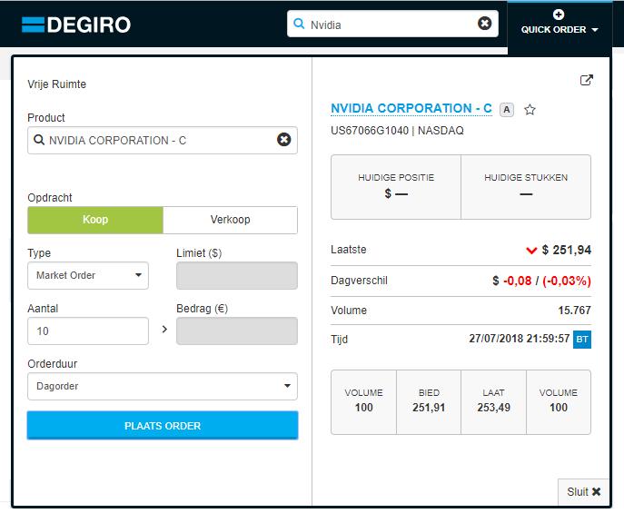 DEGIRO Buy Market Order