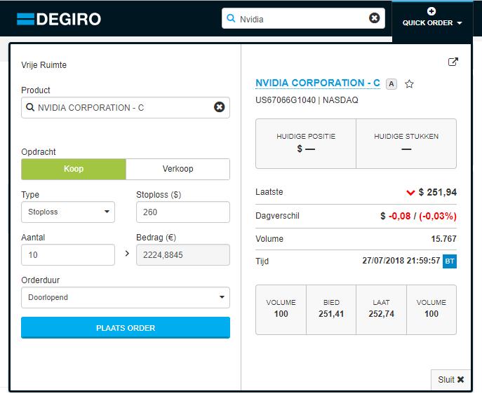 DEGIRO Buy Stop Order